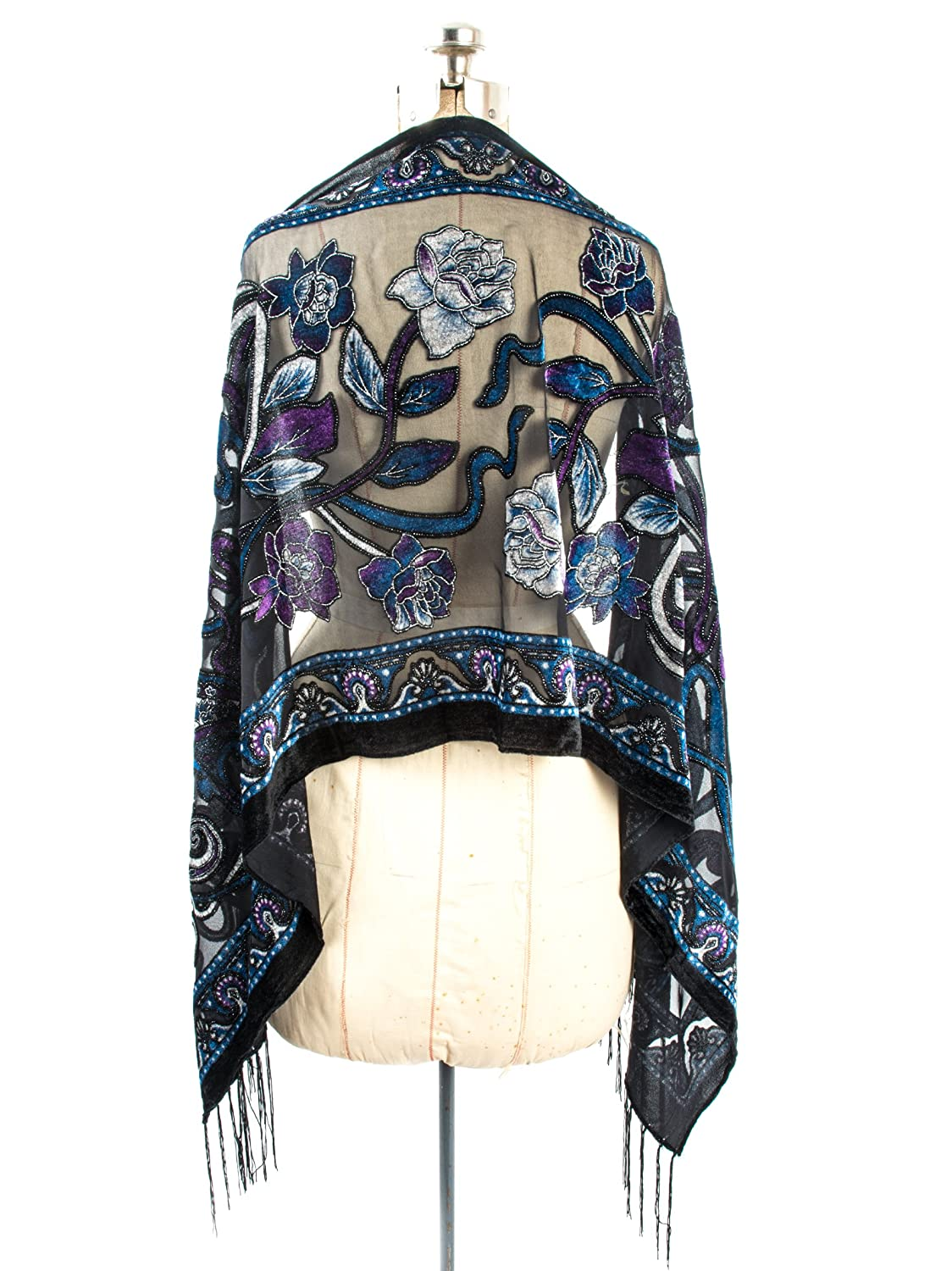 Victorian Inspired Womens Clothing Bohomonde Muriel Scarf Silk Art Nouveau Print Velvet Burnout Scarf with Fringe Ends $17.95 AT vintagedancer.com