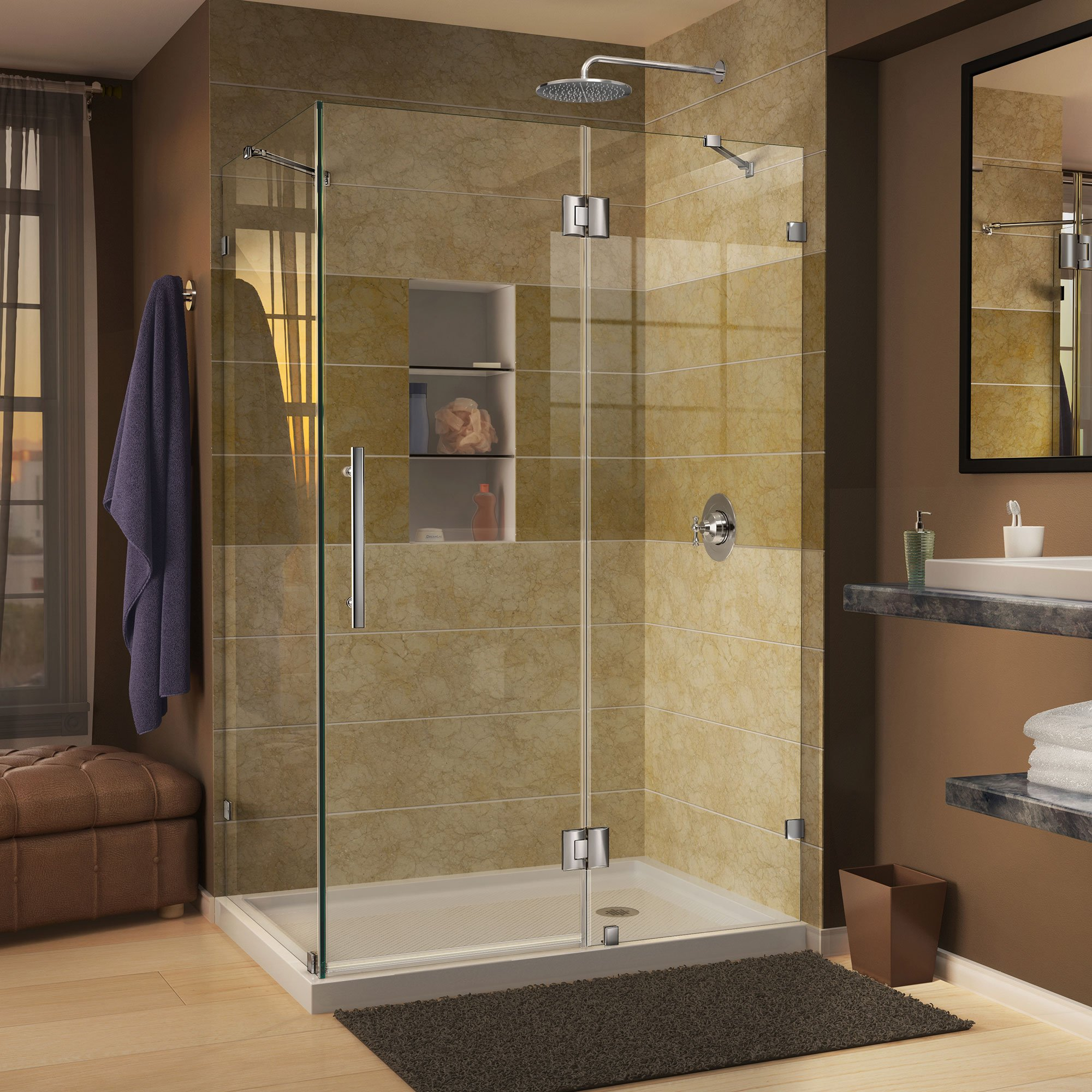 DreamLine Quatra Lux 34 5/16 in. D x 46 5/16 in. W, Frameless Hinged Shower Enclosure, 3/8'' Glass, Chrome Finish by DreamLine