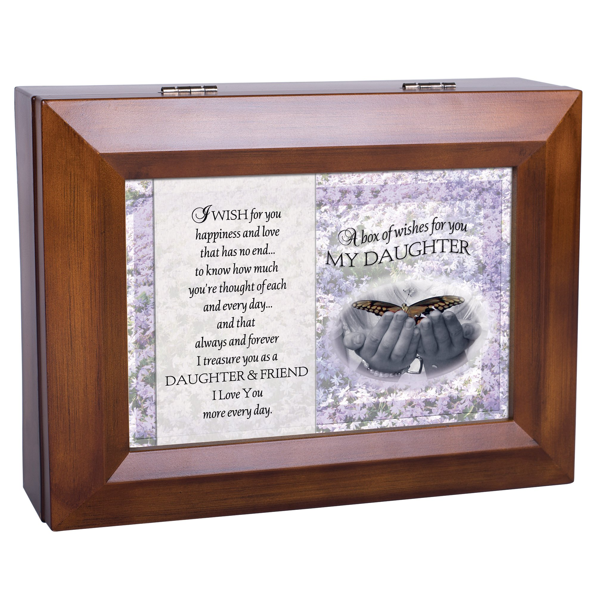 Cottage Garden My Daughter Dark Wood Finish Jewelry Music Box - Plays Tune You Are My Sunshine by Cottage Garden (Image #4)