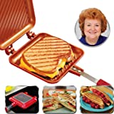 Red Copper Flipwich Non-Stick Grilled Sandwich and Panini Maker by BulbHead (1 Pack)