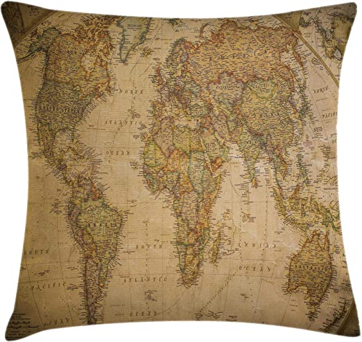 "17/""x17/"" Square Blue Green Atlas. Vintage World Map Double Sided Cushion"