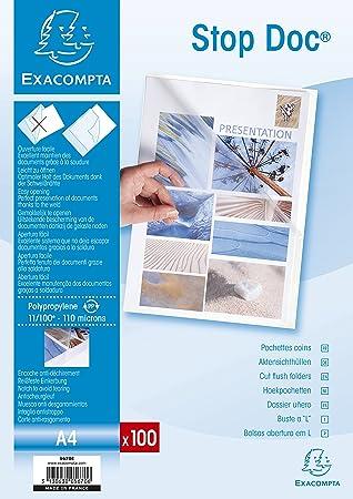 Exacompta 5670E - Estuche de 100 dossiers en PVC, A4, transparente