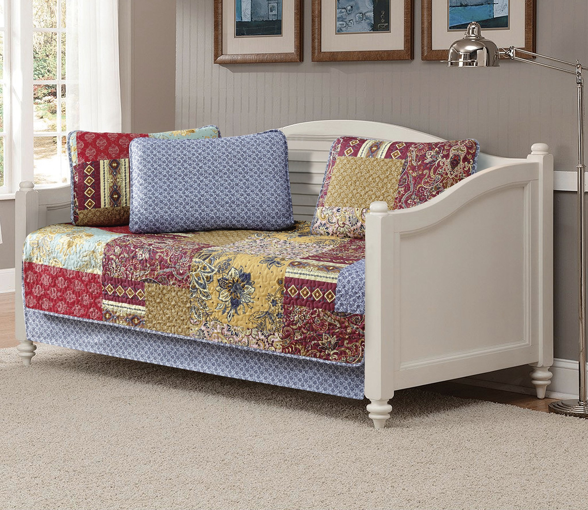 Fancy Linen 5pc Daybed Quilt Bedspread Set Bed Cover Squares Floral Taupe Red Burgundy Navy Blue New