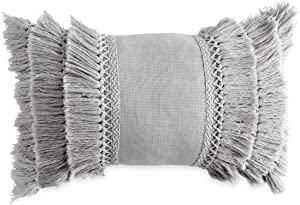 Peri Home Fringe Oblong Decorative Throw Pillow, 12x18, Grey