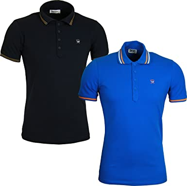 New Mens Polo Shirt Short Sleeve Plain Tee Twin Contrast Tip Collar Top T-Shirt