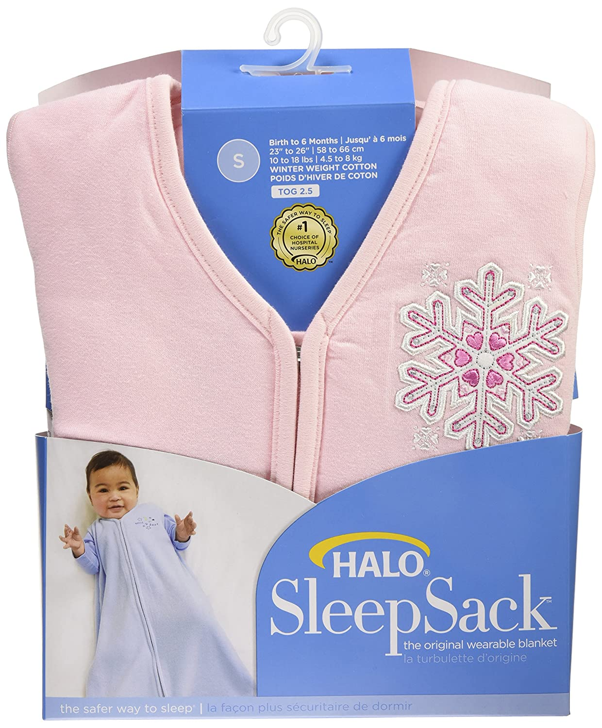 Small Pink Halo Innovations SleepSack Wearable Blanket Winter Weight-Snowflake