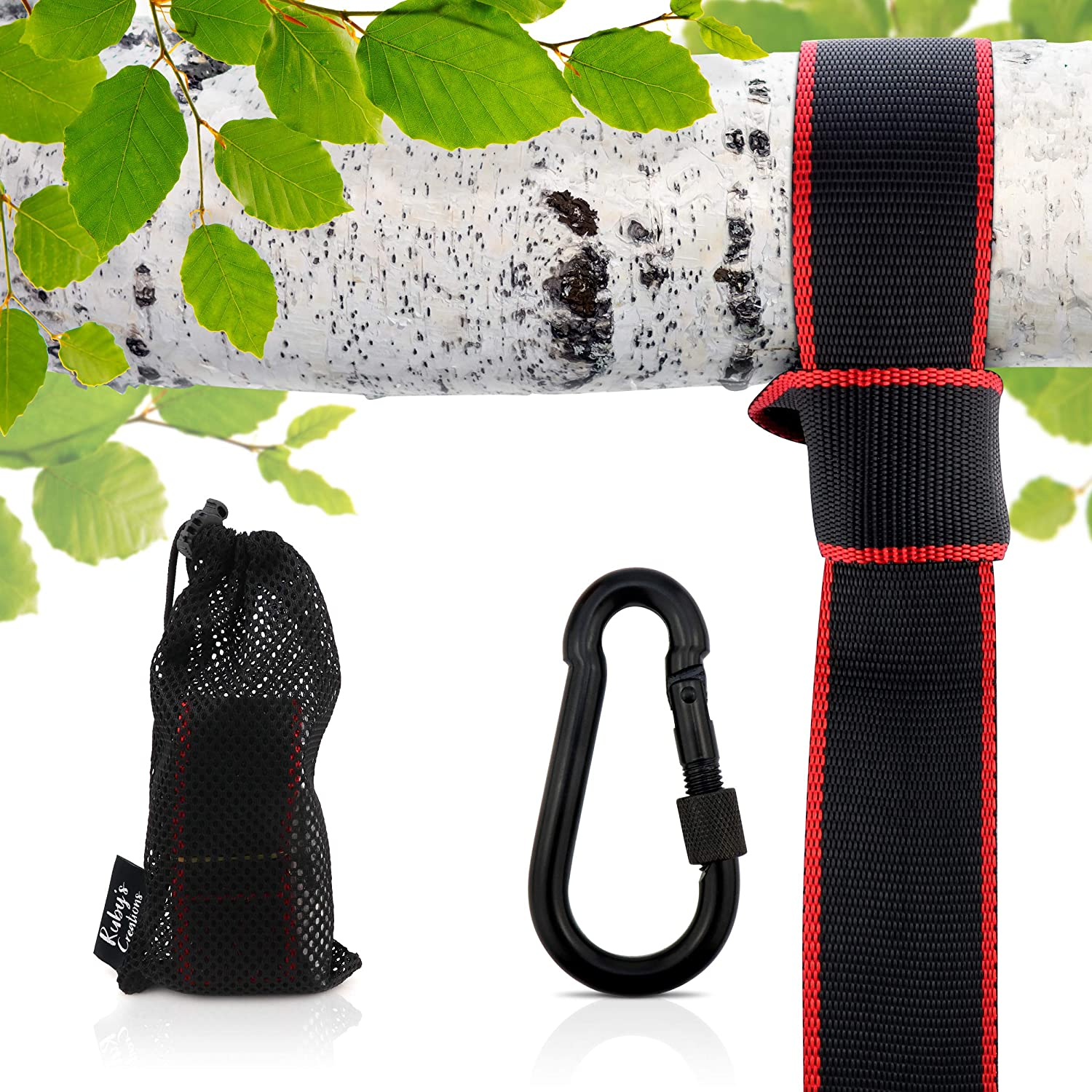 Tree Strap Swing Hanging Kit: Each SGS Certified, 10 ft Adjustable Strap Supports Over 1700 lbs; Ideal For Swing Seats, Tire Swings, Saucers, and More. Includes Heavy Duty Carabiner and Carrying Bag Ruby's Creations