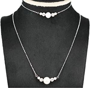 Pure Gold 18k Necklace & Bracelet with Pearl & Zircon Balls