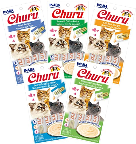 INABA Churu Lickable Pur e Wet Treat for Cats Playful Hand Feed or as Food Topper No Grains, No Preservatives, with Added Vitamin E and Green Tea 5 Flavor Pack of 20 Tubes