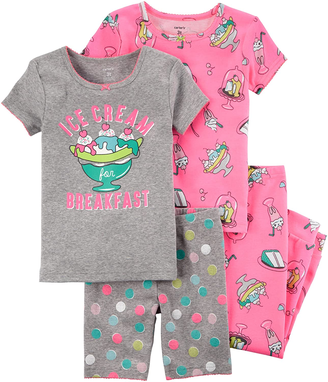 Cookies Kids Carters Little Girls 4-Piece Sleep Set 6 Gray Multi