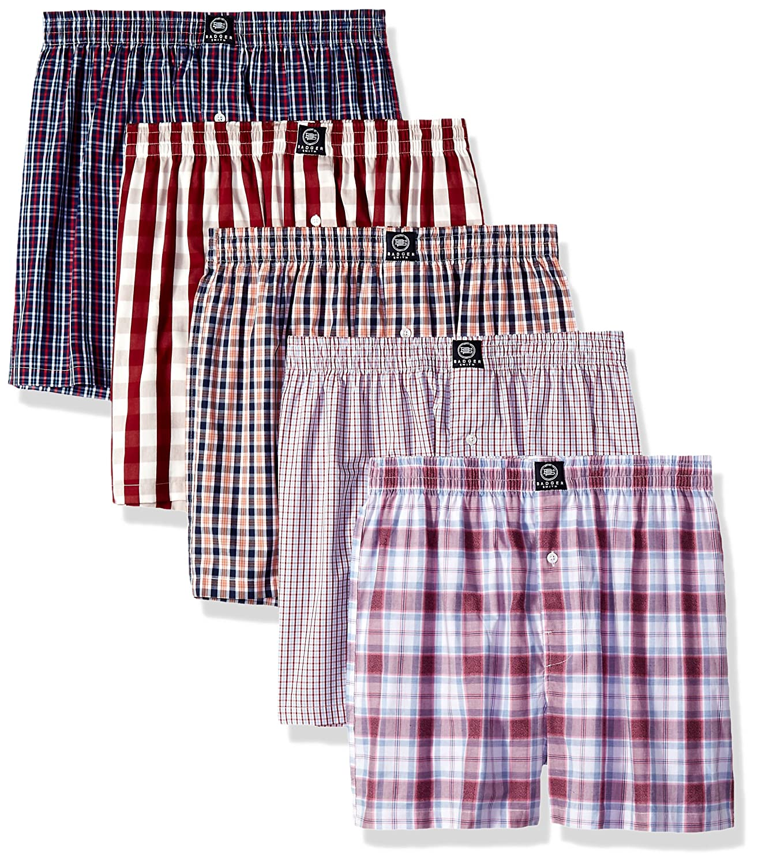 Badger Smith Men's 5 - Pack Cotton Checks Multicolor Boxer Shorts BSBXAW1802