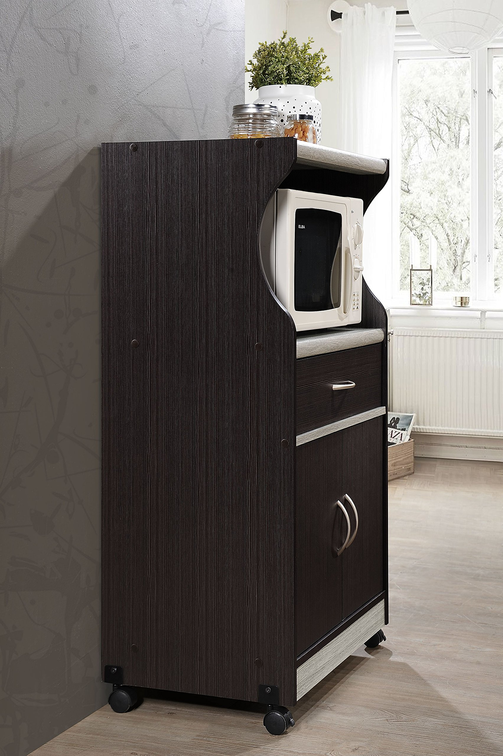 Hodedah Microwave Cart with One Drawer, Two Doors, and Shelf for Storage, Chocolate by HODEDAH IMPORT (Image #3)
