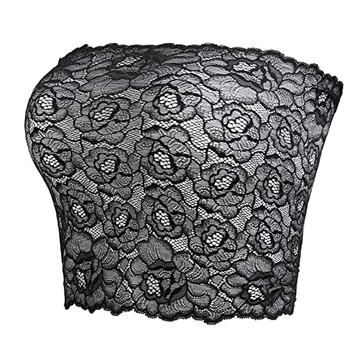 a23e178cdb6 CENG MAU Women s Plus Size Floral Lace Unlined Wrap Bras Bandeau Strapless  Tube Tops(BK