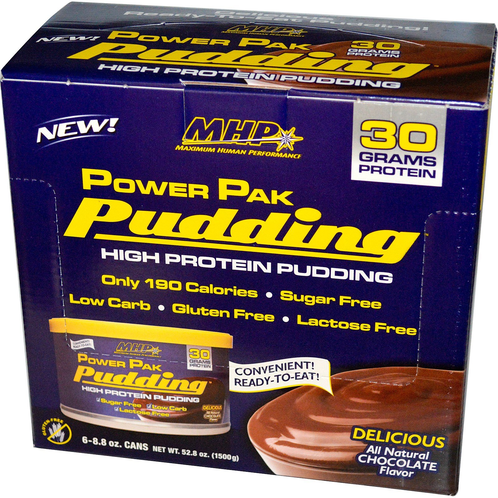 Maximum Human Performance, LLC, Power Pak Pudding, Chocolate, 6 Cans, 8.8 oz (250 g) Each - 2pc