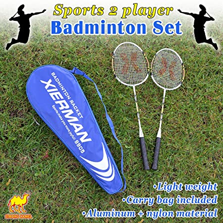 Amazon.com : Strong Camel Badminton Racket Set 2 Player Racquet Team Sports Set Recreational Combo Set New : Sports & Outdoors
