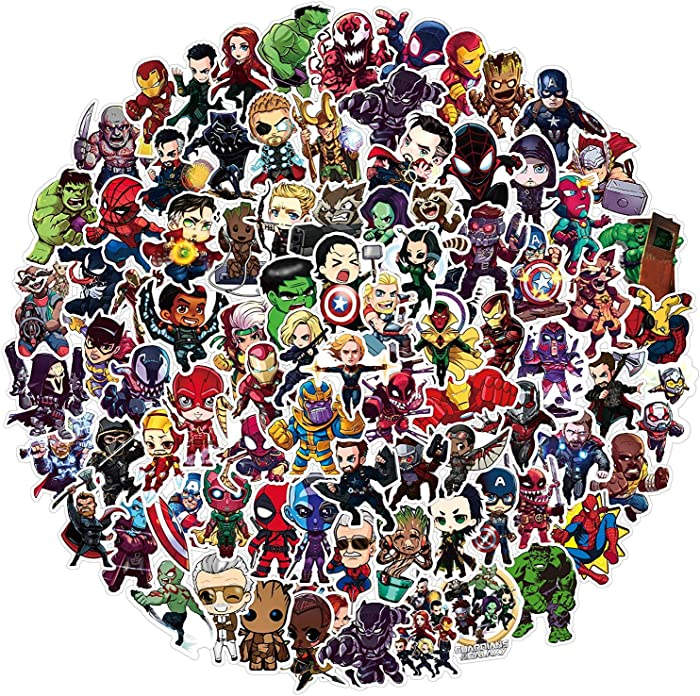 Superhero Stickers for Avengers,Water Bottles Stickers for MacBook Car Helmet Bike Laptop Guitar Skateboard(100pcs) Superhero Decals Party Favors for Teens