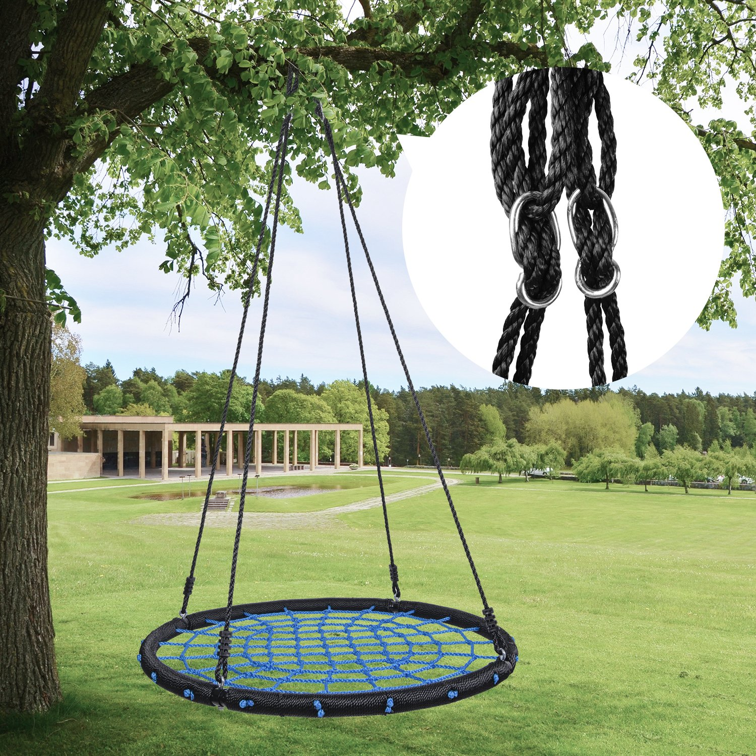 HYCLAT Saucer Tree Swing - 40''Spider Web Tree Swing Net Swing Platform Rope Round Swing 70'' Detachable Nylon Rope Swivel, Max 600 Lbs Capacity, Extra Safe and Durable for Kids by HYCLAT