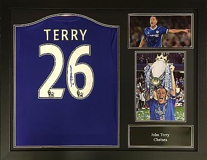 John Terry Chelsea firmado y enmarcado camiseta de fútbol con COA y la prueba. Profesional