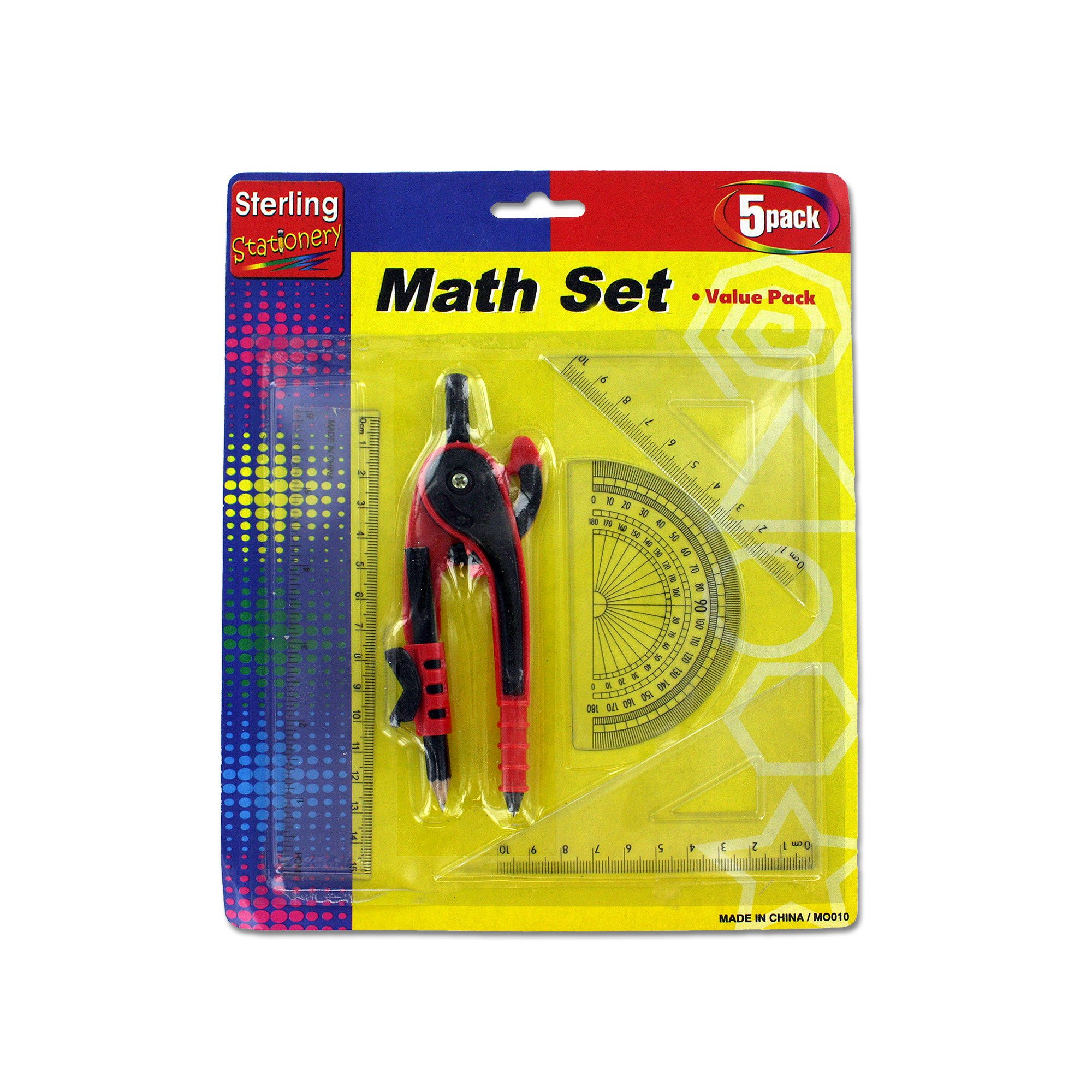 123-Wholesale - Set of 30 Math Measuring Set with Pencil - School & Office Supplies Rulers & Protractors