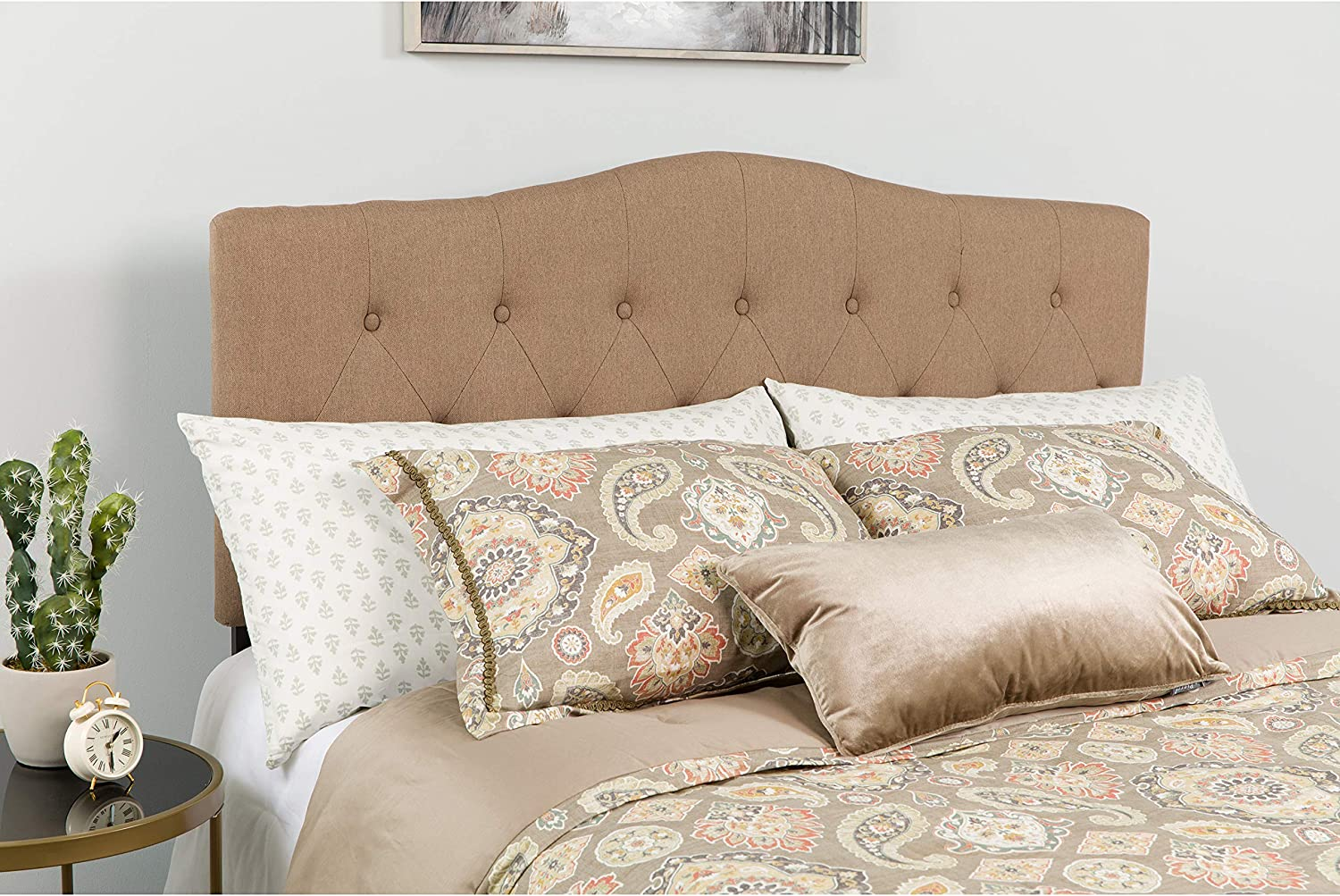 Flash Furniture Cambridge Tufted Upholstered Full Size Headboard in Camel Fabric