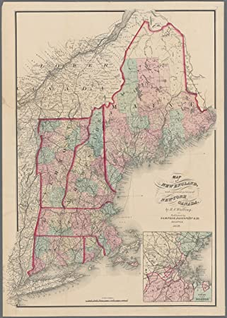 Amazon.com: Map Poster - Map of New England, with adjacent portions ...