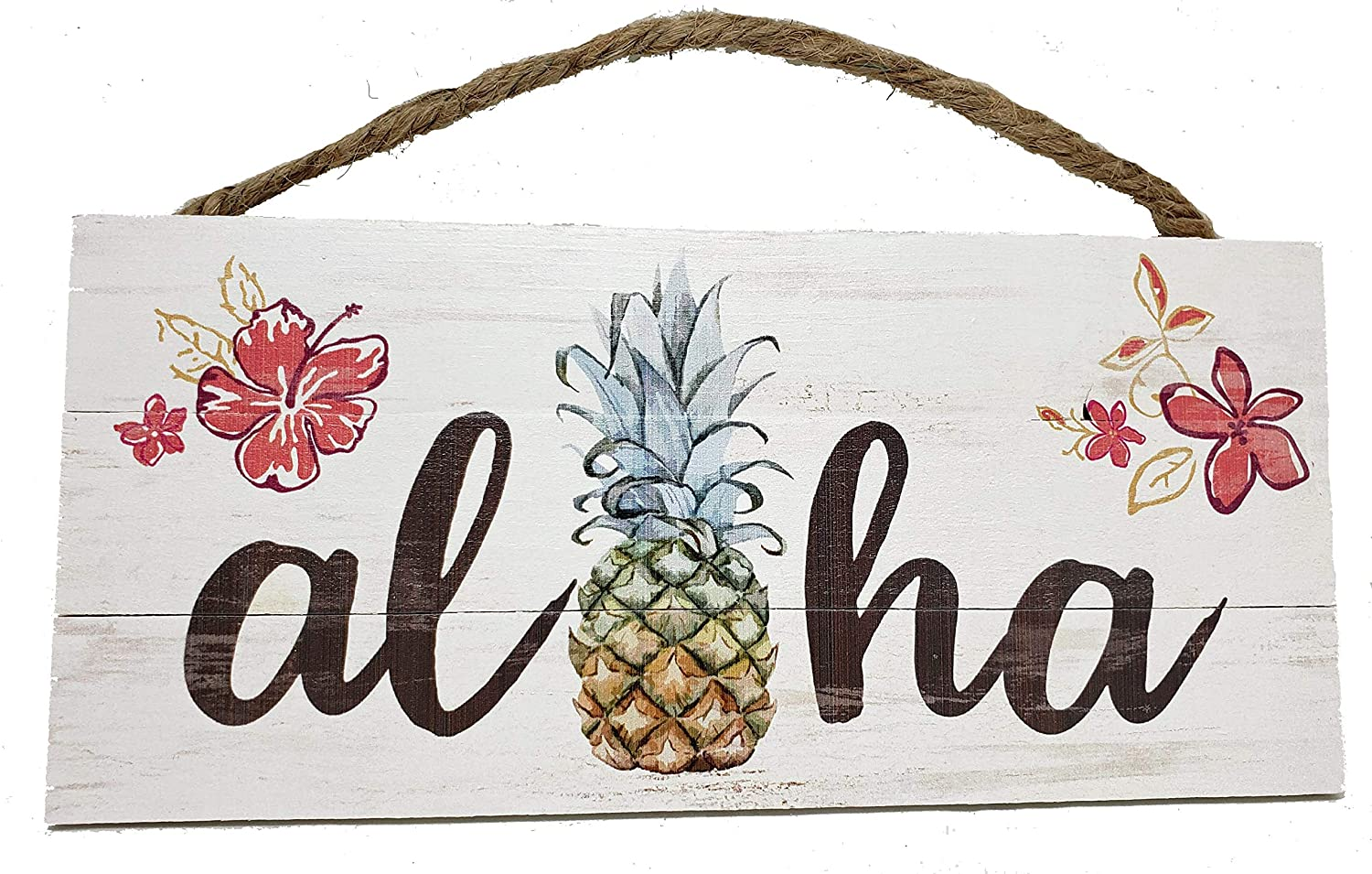 Aloha Wood Sign with Pineapple and Flowers Hawaiian Beach Decor, 10 x 4.5 Inches