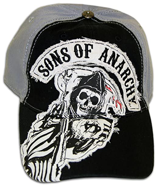 SOA Sons of Anarchy Two Color Fitted Black Baseball Cap Hat (Adult  Medium Large d1b6027441b