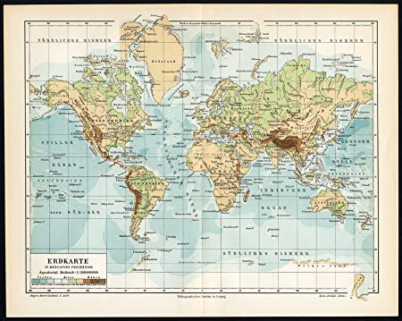 Mountain Range World Map.Antique Map World Map Depth Mountain Range Mercator Projection