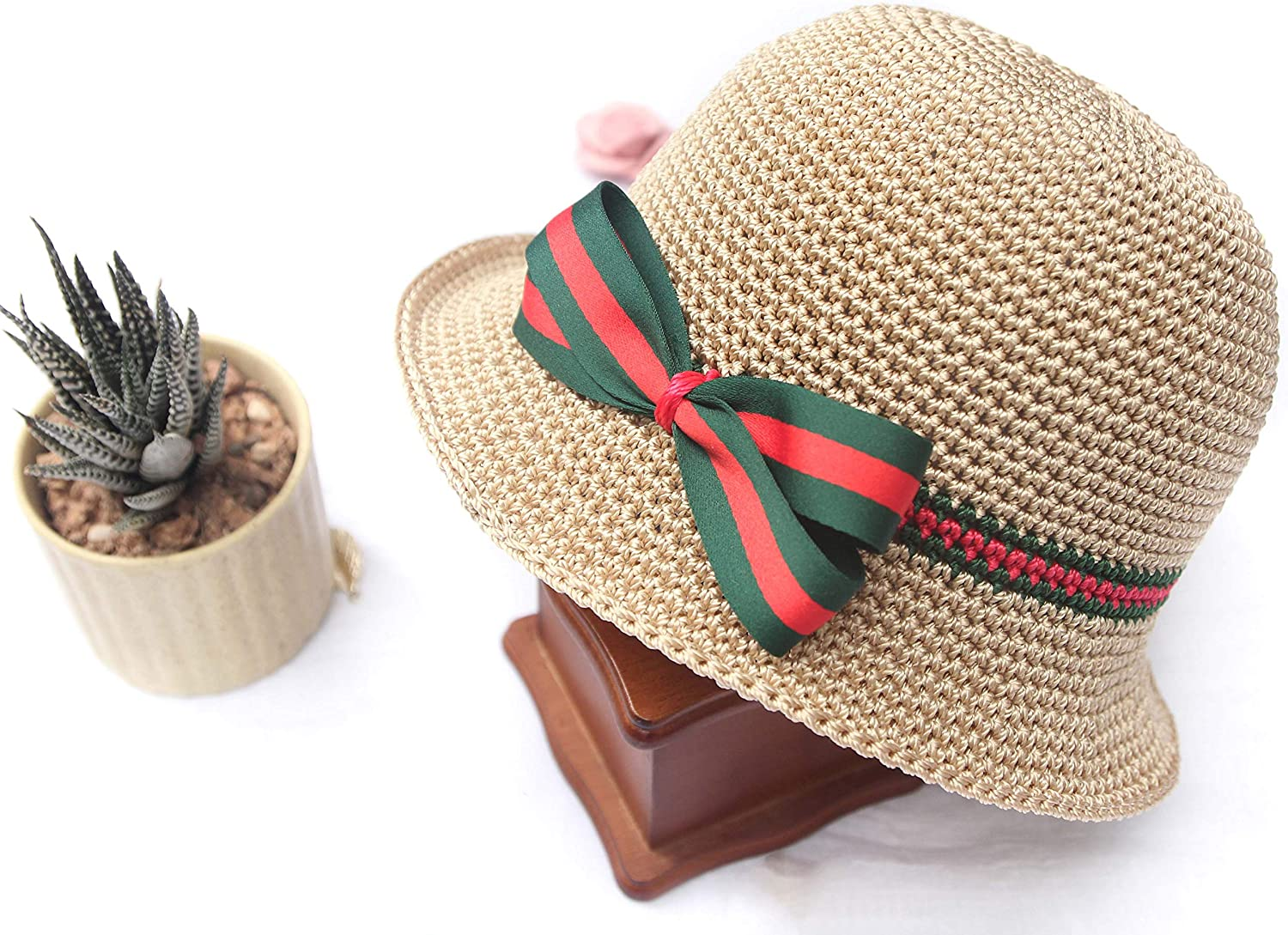 Crochet Baby Straw Hat for Girl - Toddler Straw Sun Hat with Wide Brim Sun Protection and Travel Beach for Baby and Mom