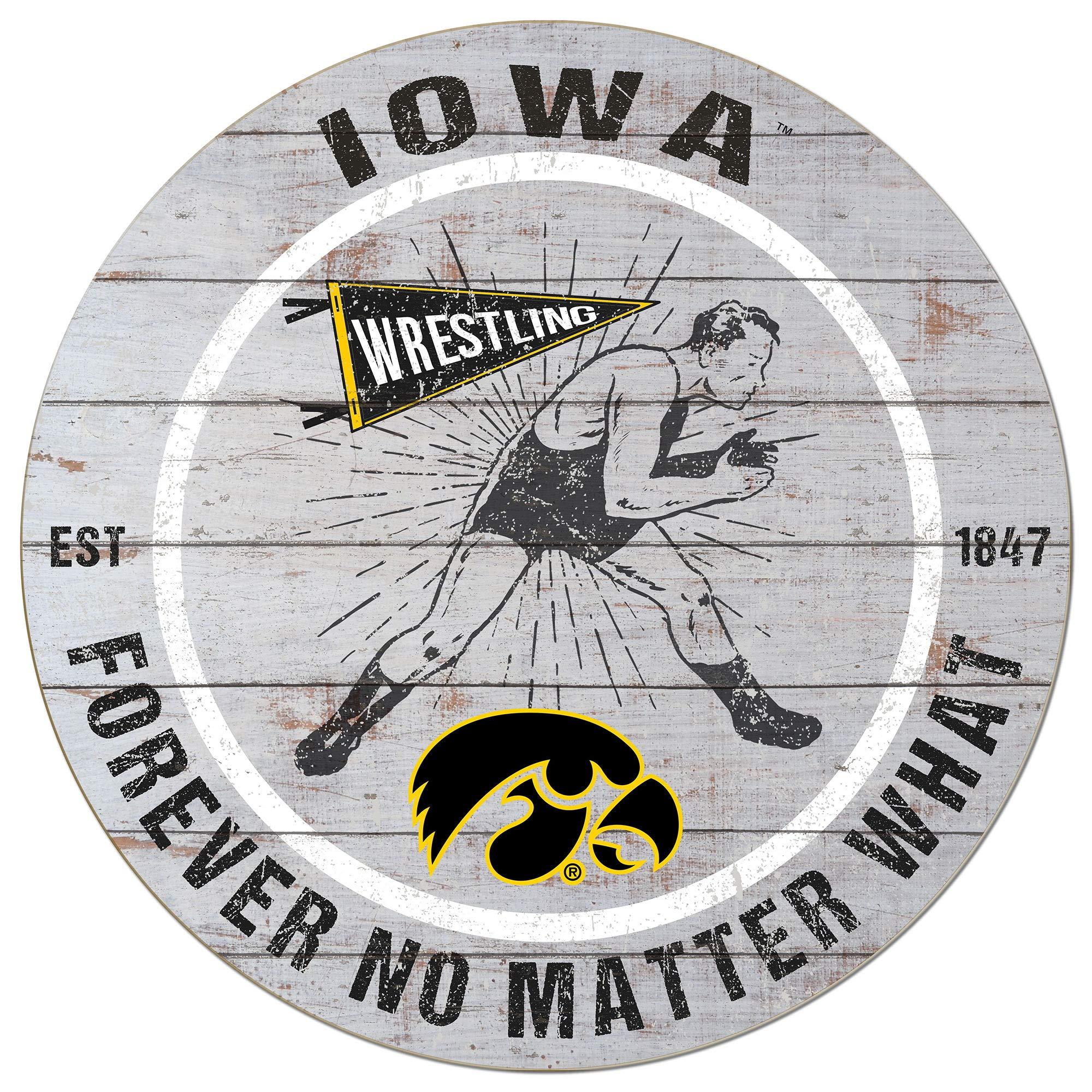 KH Sports Fan 20x20 Weathered Circle - Throwback Iowa Hawkeyes Wrestling by KH Sports Fan