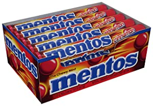 Mentos Chewy Mint Candy Roll, Cinnamon, Non Melting, Party, 14 Pieces ( Bulk Pack of 15)