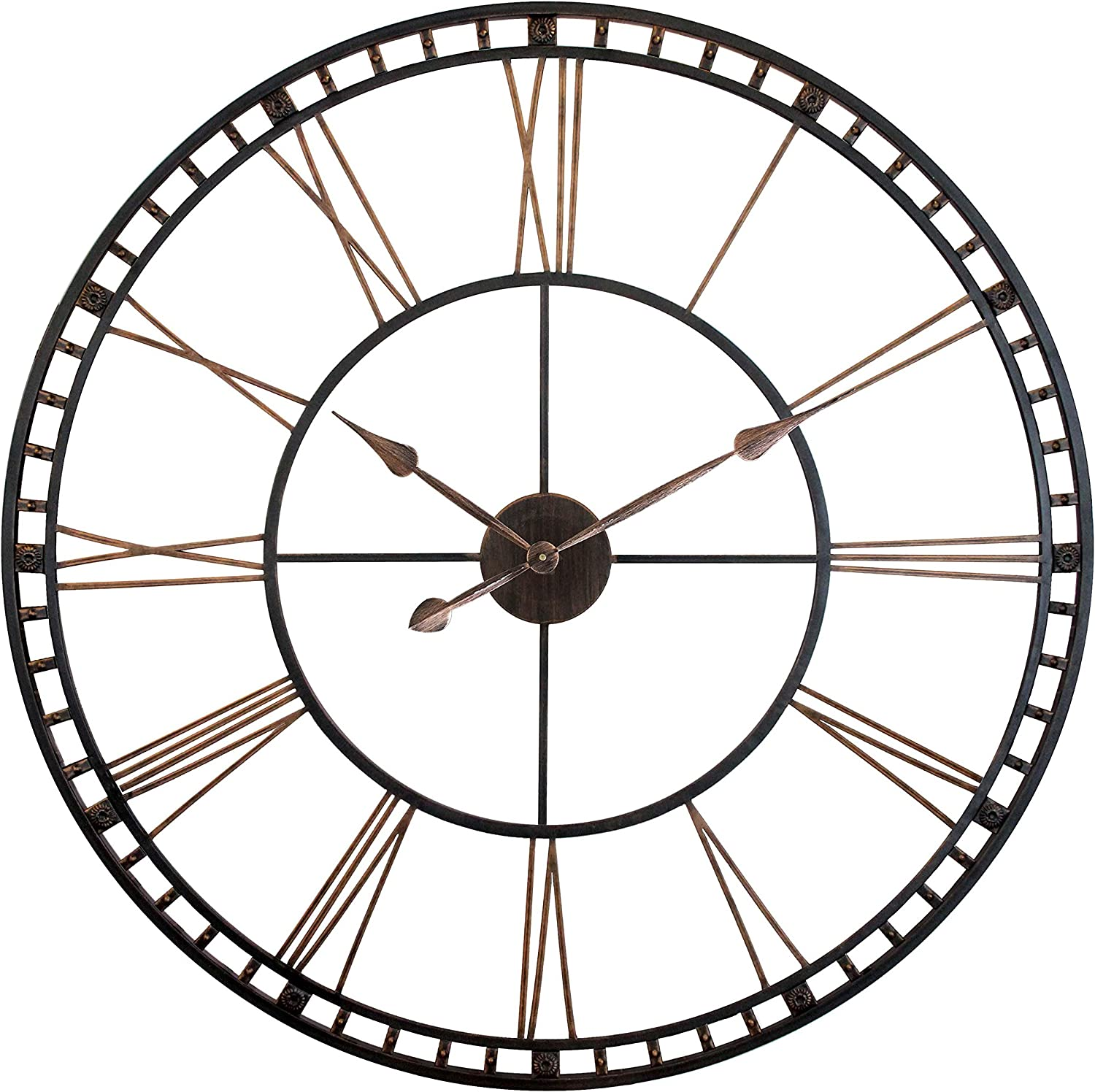Amazon Com Infinity Instruments Tower Xxl Oversized Decorative Wall Clock Perfect For Any Indoor Living Space 39 H X 39 W X 2 5 D Black Bronze Home Kitchen