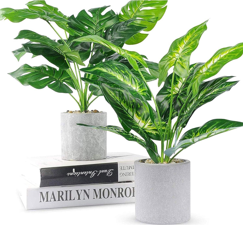 WUKOKU 2pcs Fake Plants 16