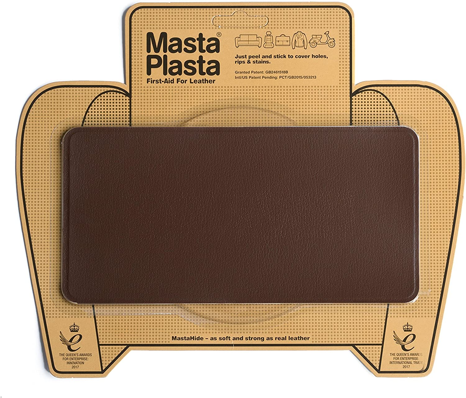 MastaPlasta Self-Adhesive Patch for Leather and Vinyl Repair, Large, Mid Brown - 8 x 4 Inch