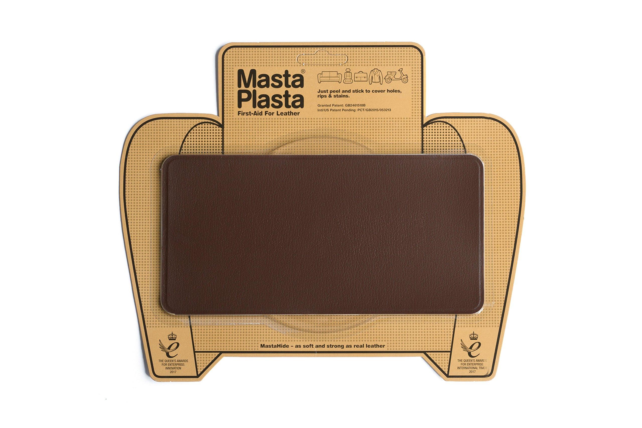 MastaPlasta, Leather Repair Patch, First-Aid for Sofas, Car Seats, Handbags, Jackets, Plain, Mid Brown Medium Stitch 8''x4''