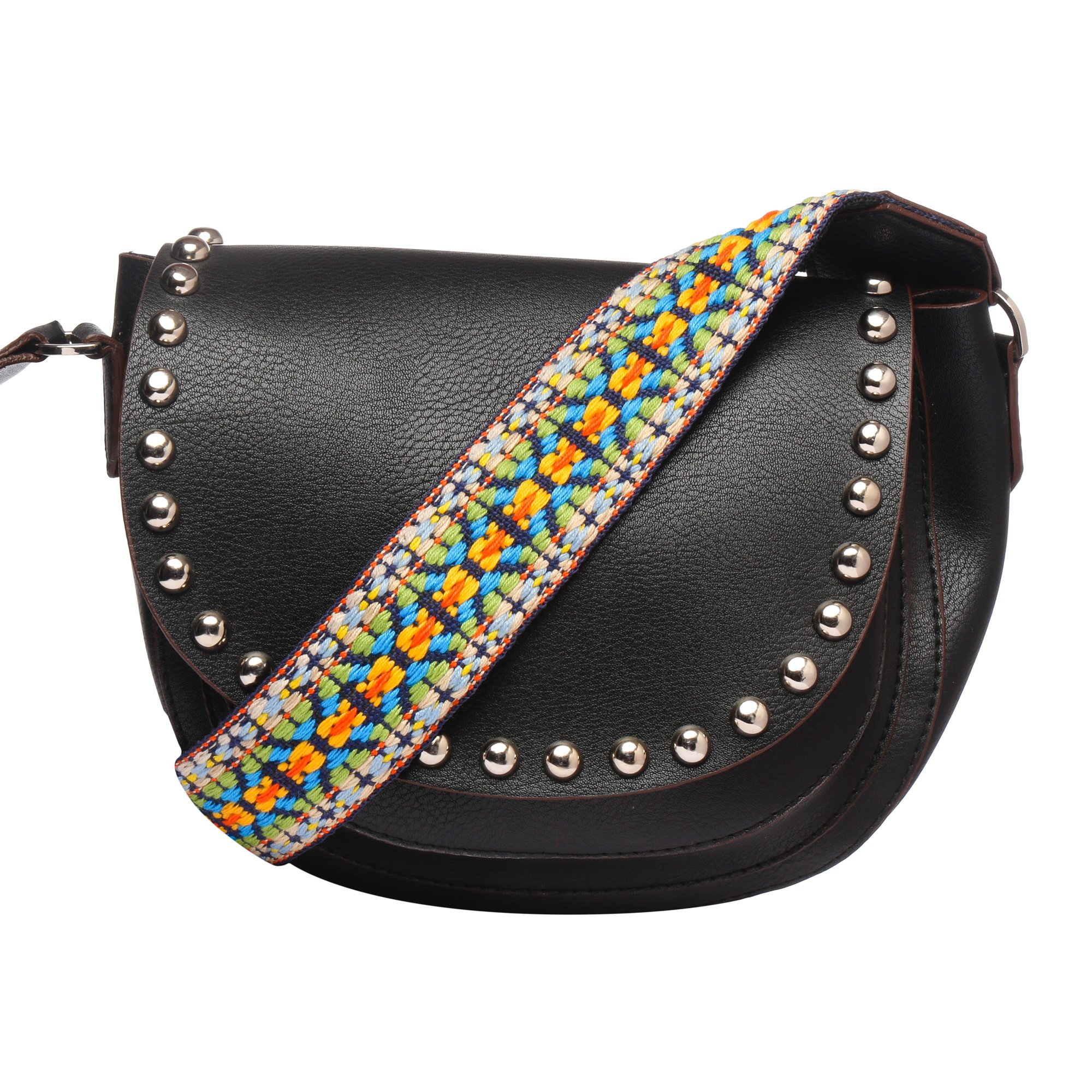 MONOKROME NEW YORK handbags for women studded crossbody sling saddle bag with rainbow color hand woven cotton cross body strap for women