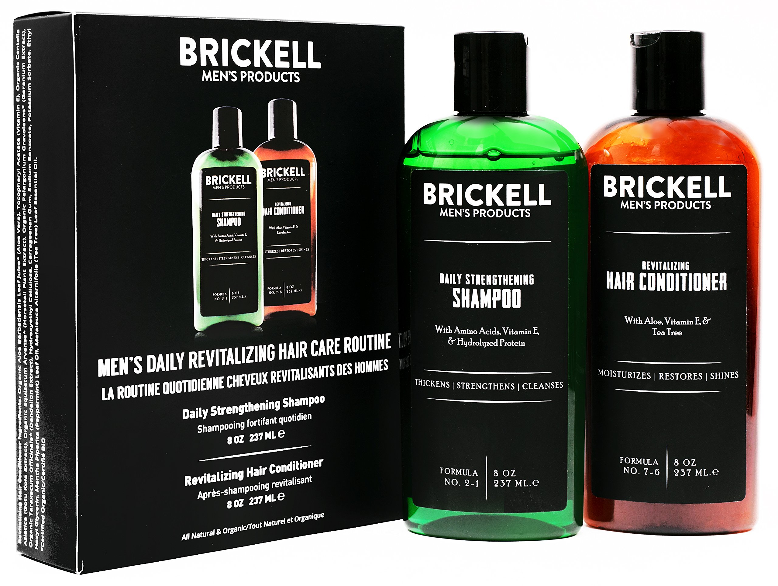 Brickell Men's Daily Revitalizing Hair Care Routine, Mint and Tea Tree Oil Shampoo, Strength and Volume Enhancing Conditioner, New Formula, Natural and Organic by Brickell Men's Products