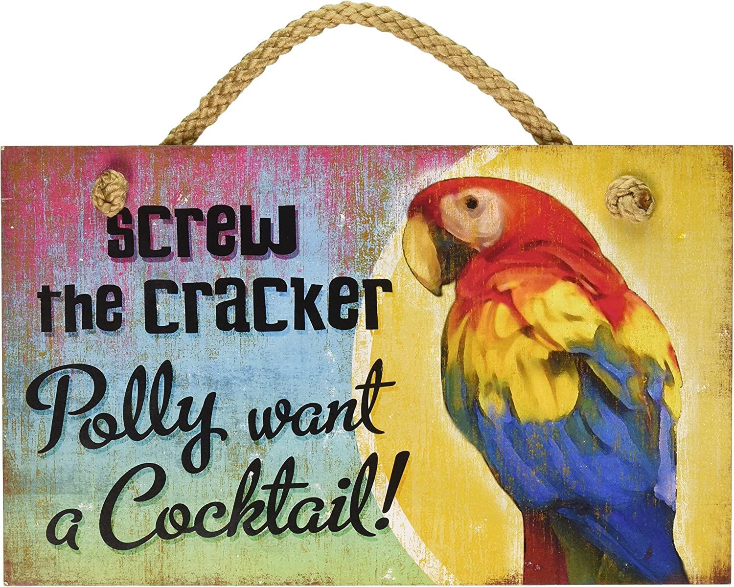 New Distressed Wood Tropical Decor Polly Want Cocktail Sign Beach Coastal Fun Plaque by Highland Graphics