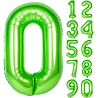 40 Inch Green Large Numbers 0-9 Birthday Party Decorations Helium Foil Mylar Big Number Balloon Digital 0