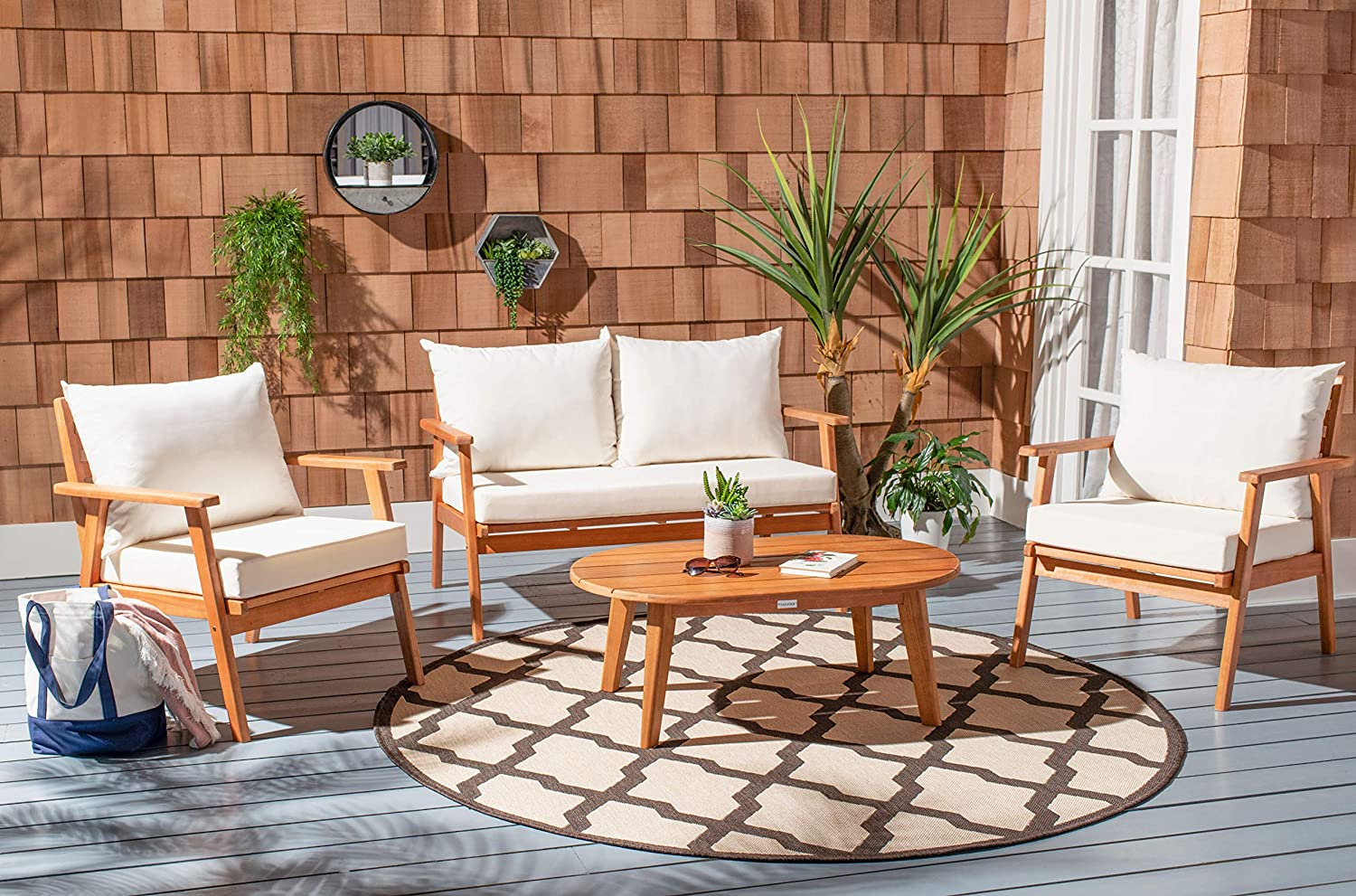 Safavieh PAT7050A Collection Deacon Natural and Beige 4-Piece Outdoor Patio Set