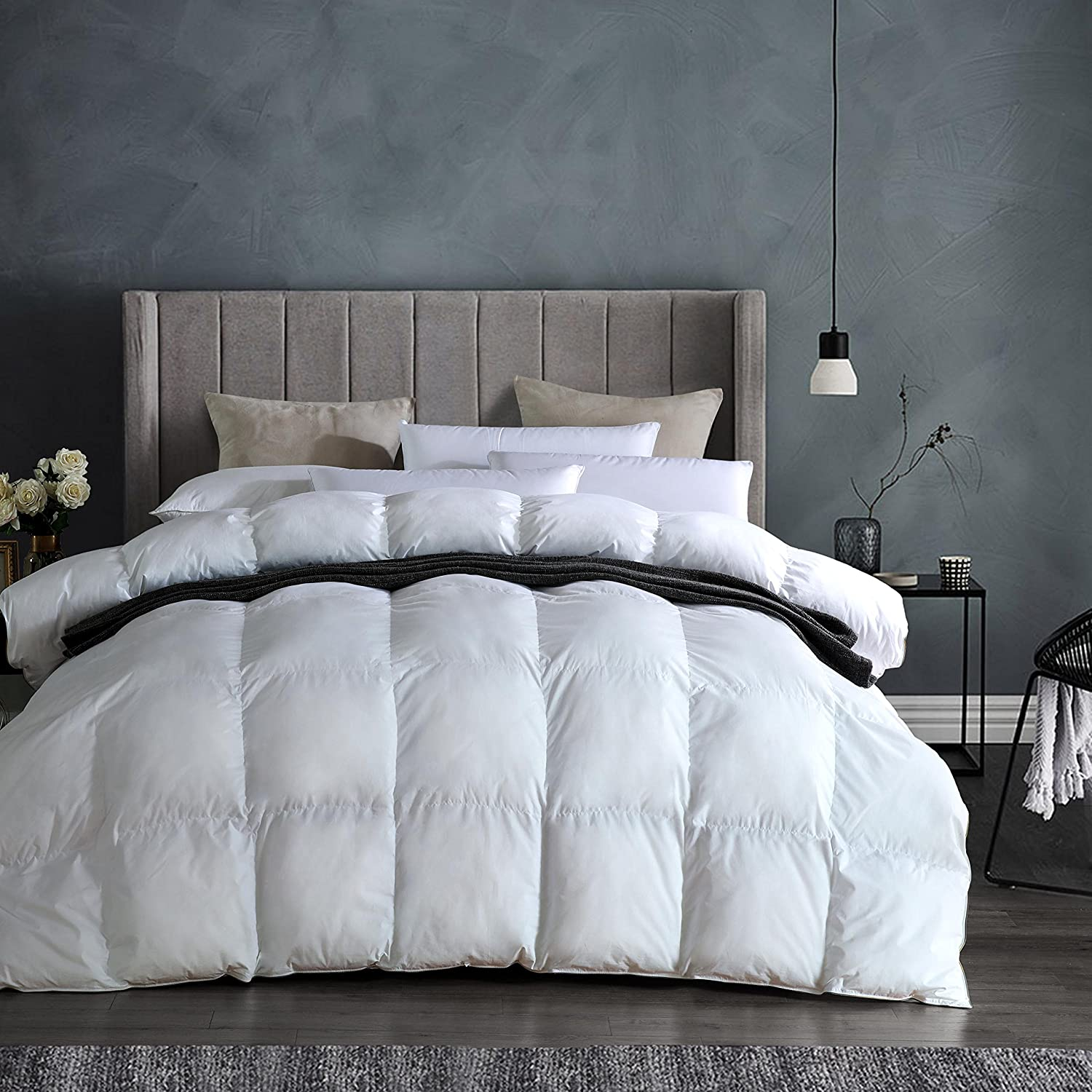 PALAWRAN Luxurious White Goose Down Comforter King Size Duvet Insert 1200 Thread Count Hypoallergenic 100% Egyptian Cotton Cover 750+ Fill Power 50 oz Fill Weight for All Seasons Cozy & Warm