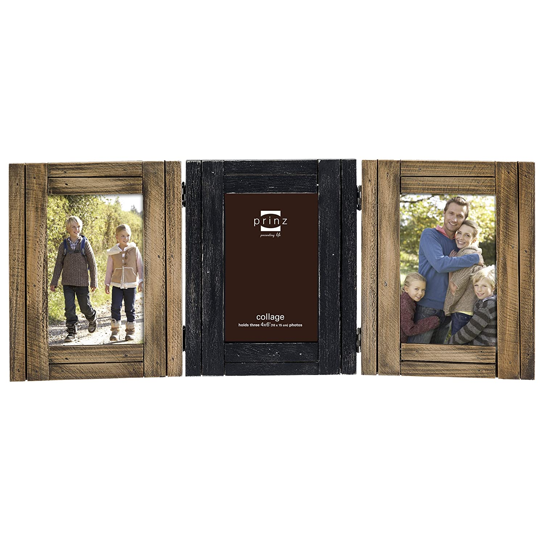Prinz Woodlands Massivholz natur Rahmen mit Bordüre Schwarz Collage ...