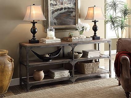 Acme Furniture Acme 72680 Gorden 70u0026quot; Server, Weathered Oak U0026 Antique  Silver