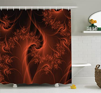Ambesonne Burnt Orange Decor Shower Curtain Set Digital Fractal Image With Swirling Turning Moving Floral