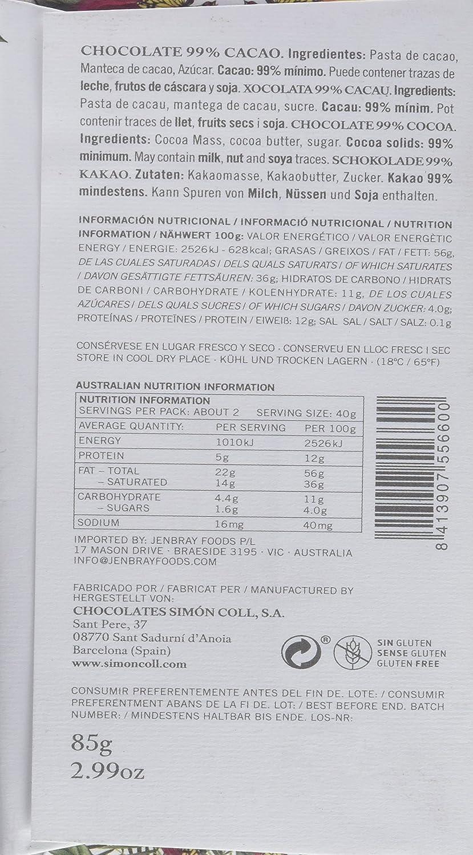 Simón Coll - Tableta de chocolate, 99% cacao), 85 gr., 1 Unidad: Amazon.es: Alimentación y bebidas