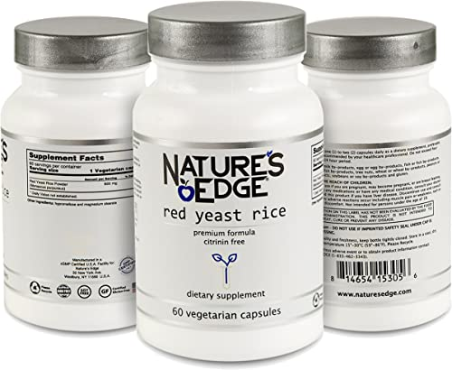 Nature s Edge Premium Quality Red Yeast Rice 600mg. Non-GMO and CITRININ-Free. Vegetarian. 60 Vegetarian Capsules Bottle. Premium Quality Dietary Supplements for Healthy Cholesterol Levels.