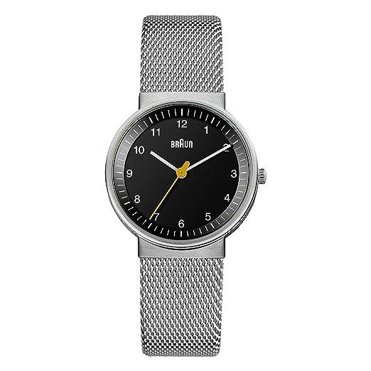 Braun BN0031BKSLMHL - Reloj análogico de cuarzo con correa de acero inoxidable para mujer, color plata/negro: Amazon.es: Relojes