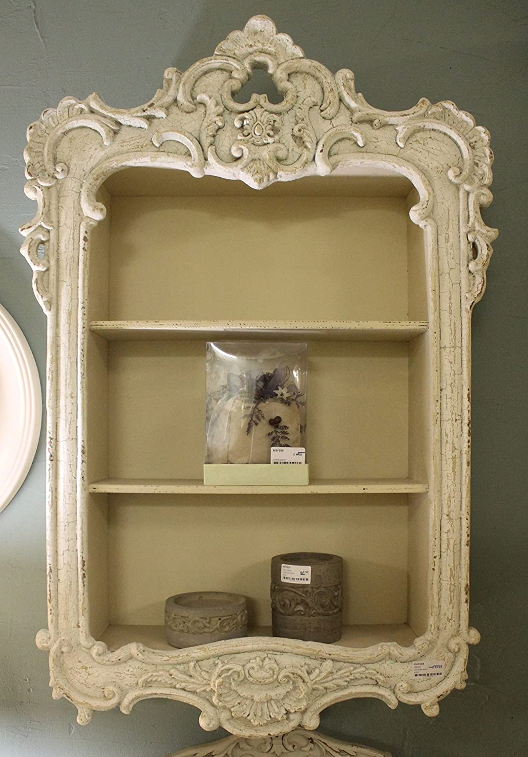 Antique white french country style carved wall shelf display unit antique white french country style carved wall shelf display unit shabby chic amazon kitchen home amipublicfo Image collections