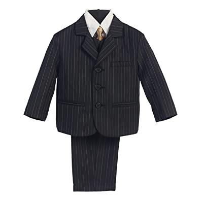 5 Piece Black with Gold Pin-Striped Suit with Gold Tie - Size 14