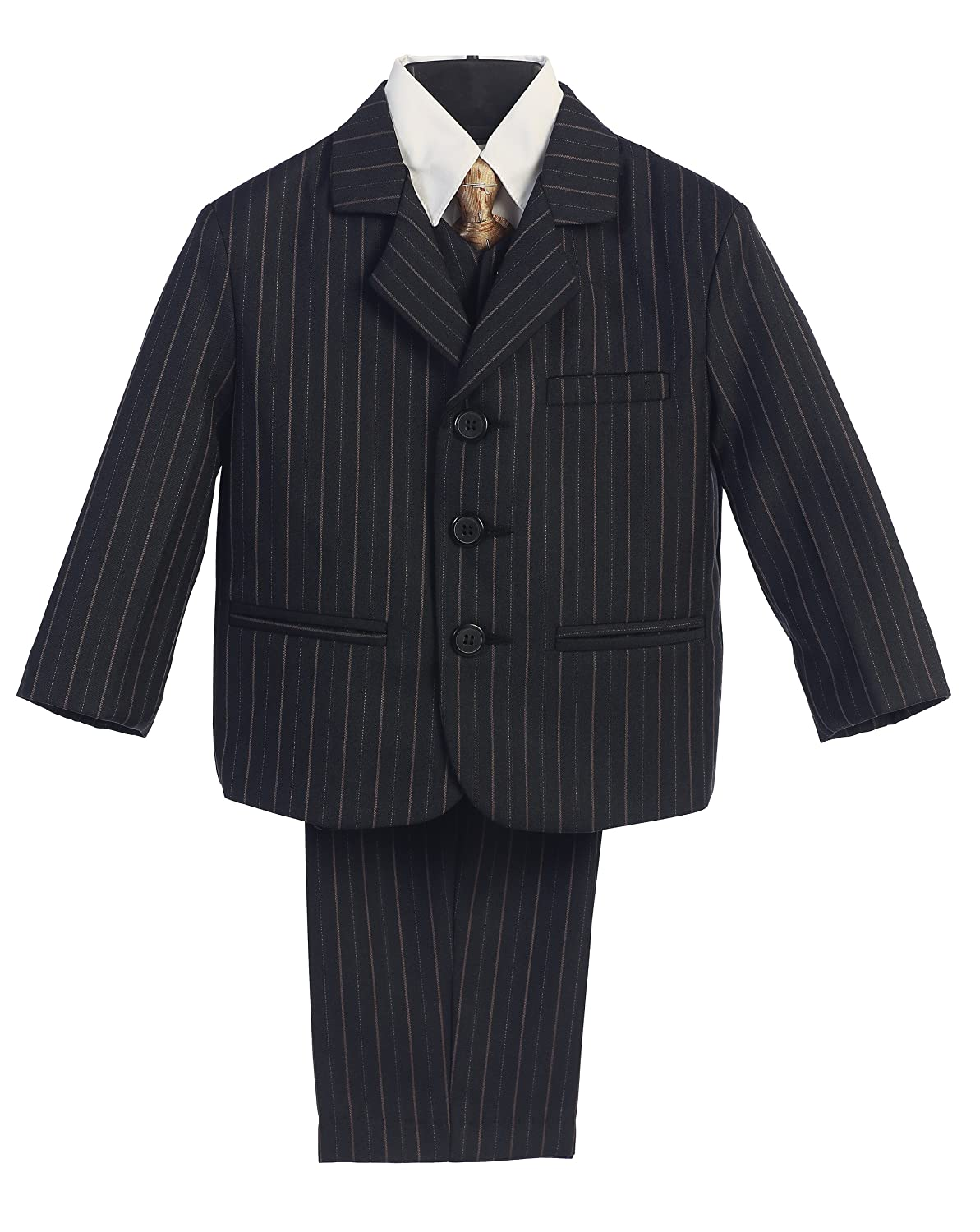 Size 2T 5 Piece Black with Gold Pin-Striped Suit with Gold Tie
